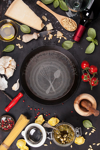 italian food background, healthy food concept or ingredients for cooking pesto sauce on a vintage background top view with copy space