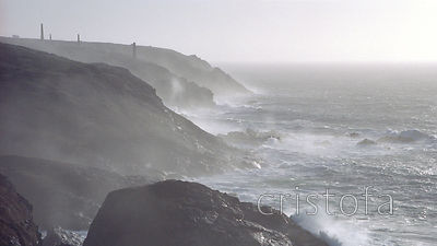 Wild Atlantic on Cornish cliffs.