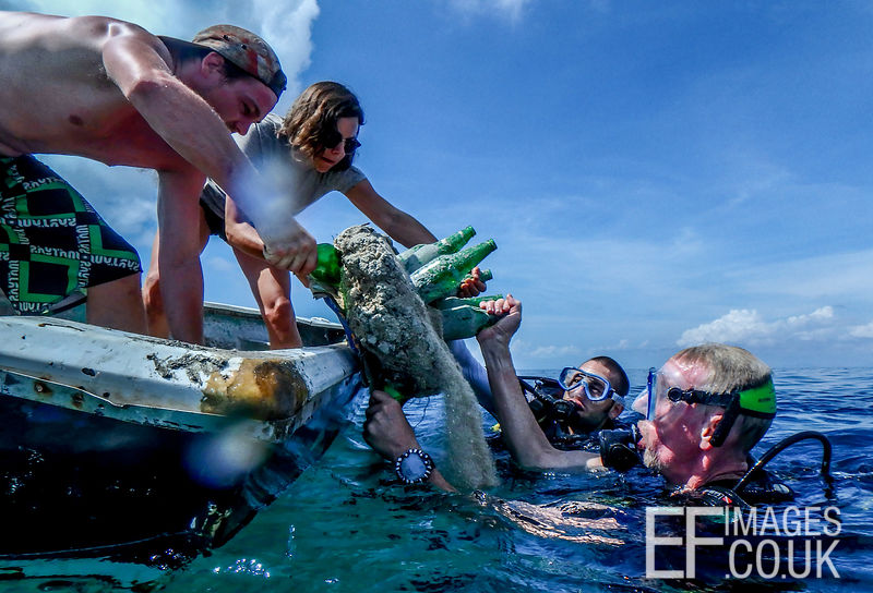 Bottle Reefs are taken out to an area with nothing on the sea floor, dropped into the water and guided to the bottom.