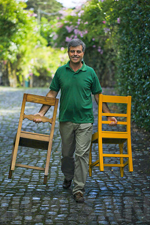 Carrying chairs on Terceira Island, Azores
