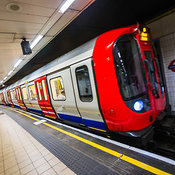 Underground train pulls into station, London, England, United Kingdom