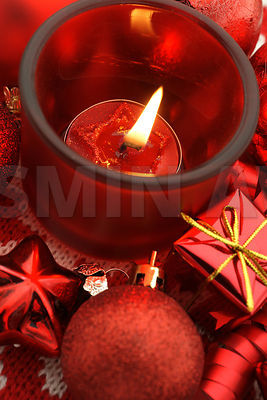 Holiday decoration with starcandle,gifts and baubles
