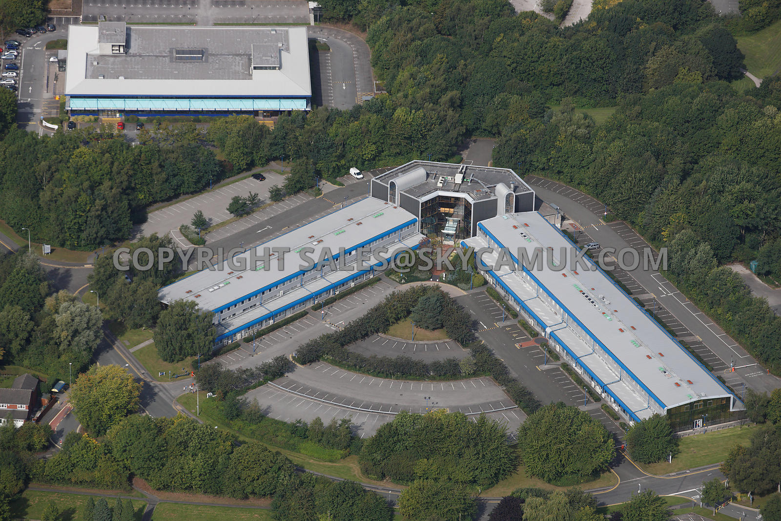 Aerial photography of warrington aerial photograph of L shaped building