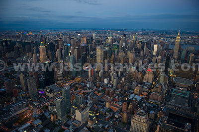 Aerial view of Midtown Manhattan at dusk