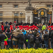 Crowds gather near the front gate of Buckingham Palace, London, England, United Kingdom