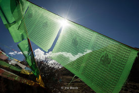 Prayer flags in Ganden Monastery Lhasa, Tibet
