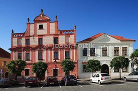Houses on the Alsovo Square,  Pisek, Czech Republic