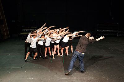 UK - Hull - Director Jamie Beale rehearses drama students from Hull University for their parts in the forthcoming production of Cycle Song in the Gulbenkian Theatre