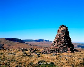 cairn on summit of fan nedd with fan gyhirych and the black mountain in distance brecon beacons national park wales