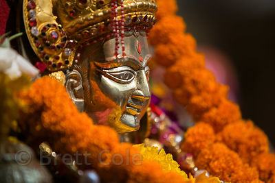 Golden idol of Lord Raghunath during the Dussehra festival in Kullu, India