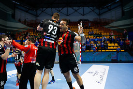 Mijajlo Marsenic and Rogerio Fereirra during the Final Tournament - Final Four - SEHA - Gazprom league, Gold Medal Match Vardar - Telekom Veszprém, Belarus, 09.04.2017, Mandatory Credit ©SEHA/ Uroš Hočevar..