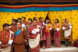 People during the festival at Punakha Dzong, Bhutan.
