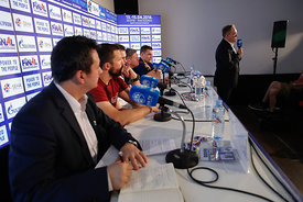 Stojance Stoilov,Raul Gonzales,Sergey Bebeshko and Vid Poteko at the opening press conference during the Final Tournament - Final Four - SEHA - Gazprom league, Skopje, 12.04.2018, Mandatory Credit ©SEHA/ Uros Hocevar