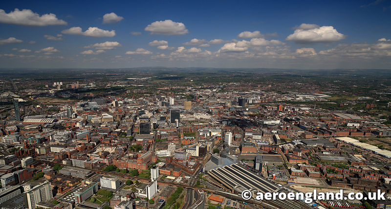 aerial photograph of Manchester Greater Manchester England UK