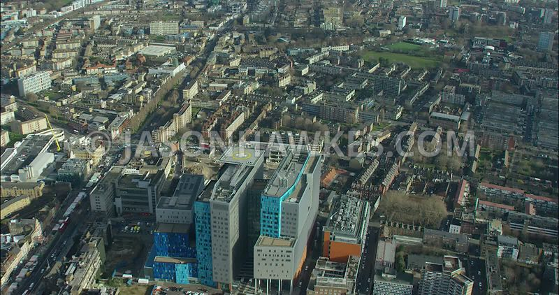 London Aerial footage, East London, The Royal London Hospital.
