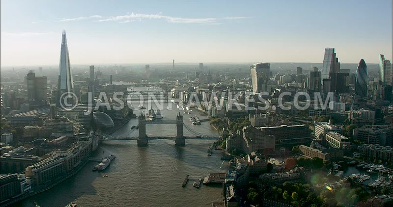London Aerial Footage, River Thames from Tower Bridge to London Bridge.