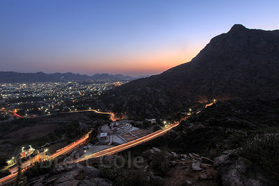 View of Ajmer city at dusk from Leela Seori, the area dividing Ajmer and Pushkar, Rajasthan, India