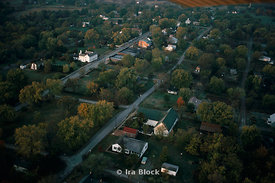 An aerial shot of a small rural town.