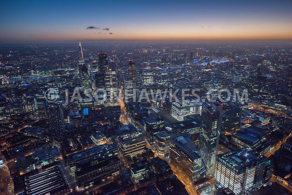 Night aerial view over A10 Bishopsgate, City of London, London. Liverpool Street, 199 Bishopsgate.