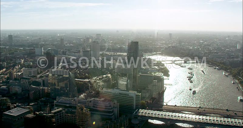 London Aerial Footage of Blackfriars Bridges.