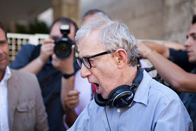 Woody Allen on set of The Bop Decameron in Rome.