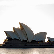 Sunrise behind Sydney Opera House, Sydney, New South Wales, Australia
