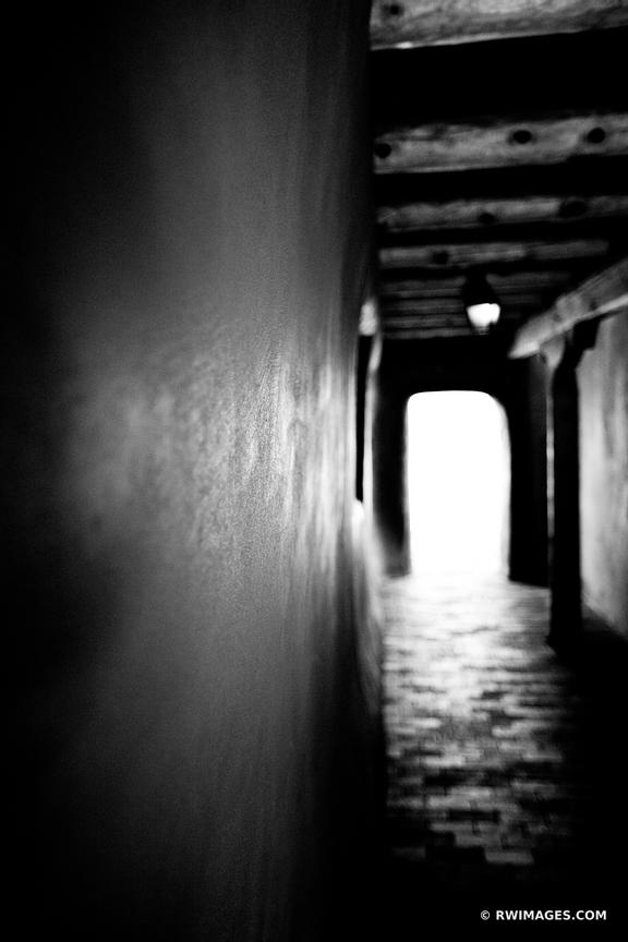 HALLWAY IN ADOBE BUILDING SANTA FE NEW MEXICO BLACK AND WHITE