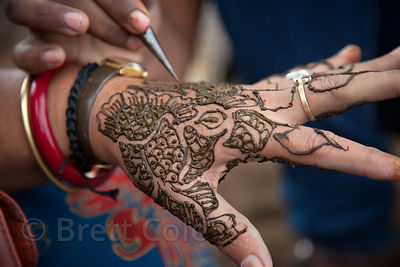 Henna painting on a woman's hand, Pushkar, Rajasthan, India
