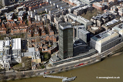 aerial photograph of Millbank Tower, 30 Millbank, London SW1P 4RS. In the photo can be seen Marsham St, London SW1P 4DF  and   John Islip St, London SW1P 4DD