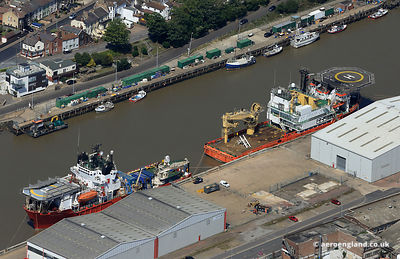 aerial photograph of Red7 Alliance and Red7 Tonjer moored on the River Yare in Great Yarmouth
