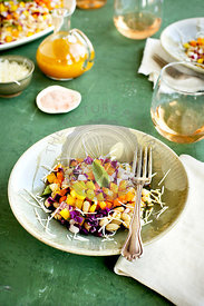 White Bean Vegetable Salad with Tangerine Vinaigrette served with Rosé wine.  Photographed on a green plaster background.