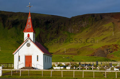Reyniskirkja, church on Reynisfjara Beach near Vík í Mýrdal, South Coast, Iceland.
