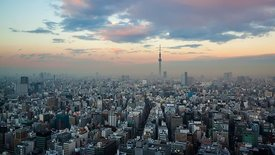 Bird's Eye: Brilliant Cumulus Shifting Sunset Over Tokyo & Tokyo Skytree (Day To Night)
