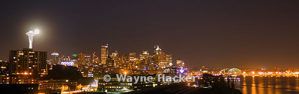 Nightscape Panorama of Seattle waterfront.