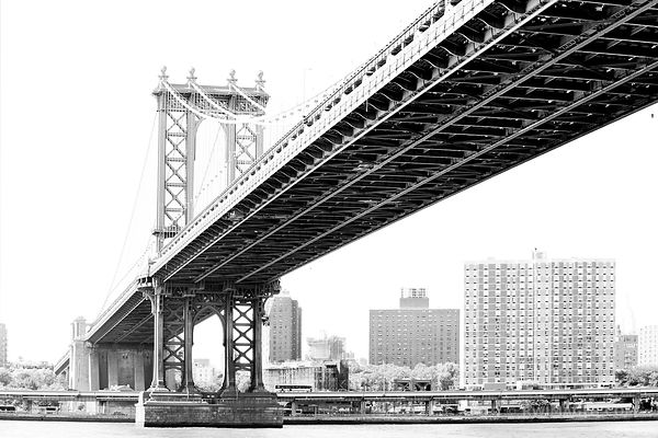 MANHATTAN BRIDGE DUMBO BROOKLYN NEW YORK BLACK AND WHITE