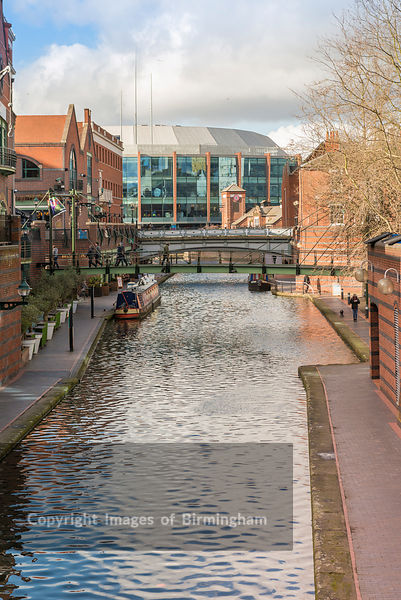 The Barclaycard Arena next to the canals of Brindleyplace, Birmingham.