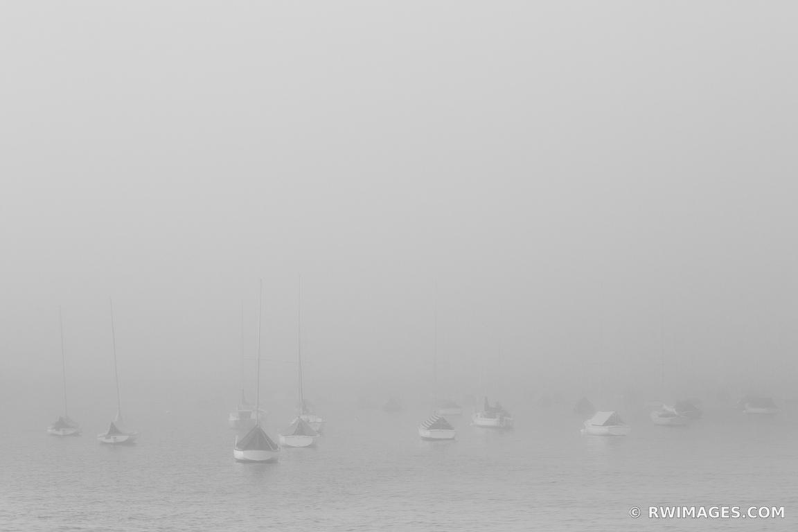 FOG EVENING SAILBOATS ROCKPORT CAPE ANN MASSACHUSETTS BLACK AND WHITE