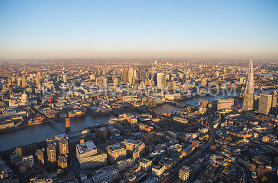 Aerial view of London, The Shard with Southwark and River Thames towards City of London.