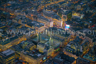 Dusk aerial view of Haymarket, Piccadilly, London