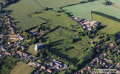 aerial photograph of Carbrooke Preceptory , Norfolk England UK.