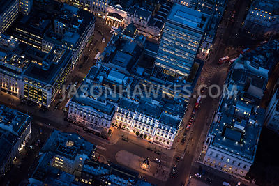 Aerial view of London, Pall Mall and Waterloo Place at night.