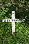 Simple cross marking the grave of a young man who died of HIV-Aids in rural Kenya.
