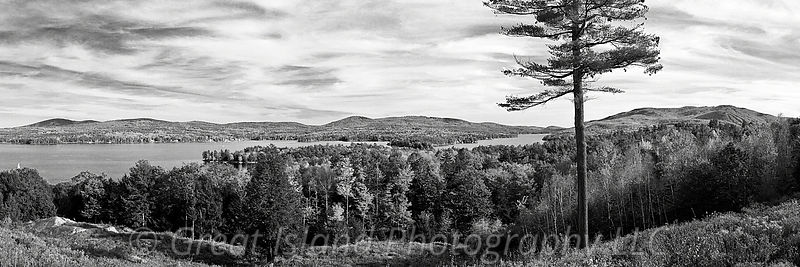 Mt Sunapee & Lake Sunapee in Autumn Black & White