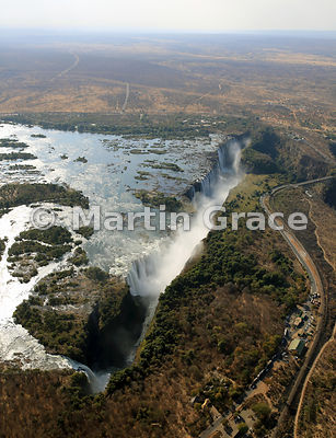 Victoria Falls (Mosi-oa-Tunya) from the air from the west, Zambia and Zimbabwe