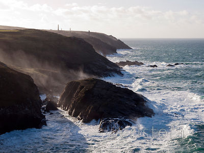 Cliffs at Pendeen with stormy sea