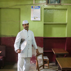 Mr Sri Kumar, a waiter in the Indian Coffee House, Jaipur