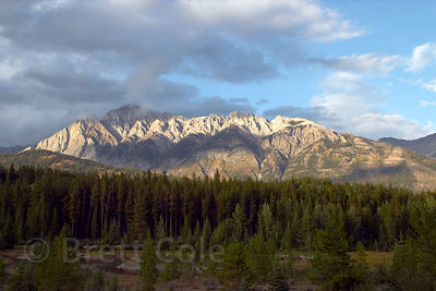 Late light on mountains outside of Banff. Canadian Rockies.