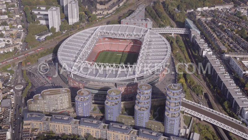 Aerial footage of Emirates Stadium. Arsenal football club.