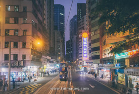 hong kong street at night