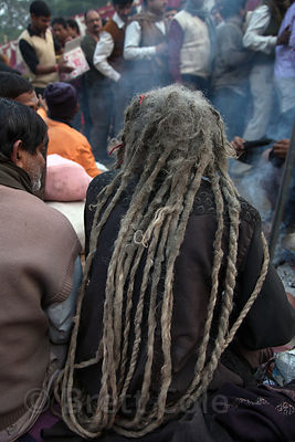A sadhu (holy man) with long dreadlocks at a staging area in Kolkata, India for pilgrims going to the Gangasagar Mela on Sagar Island south of Kolkata.